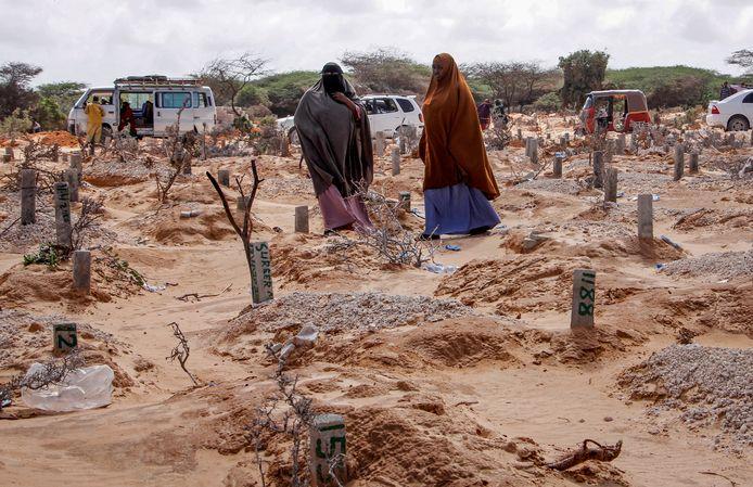 Een begraafplaats in Mogadishu, de hoofdstad van Somalië.