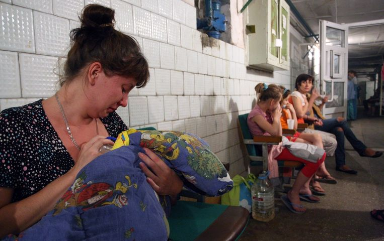 De kelder van het ziekenhuis in Donetsk. Beeld epa