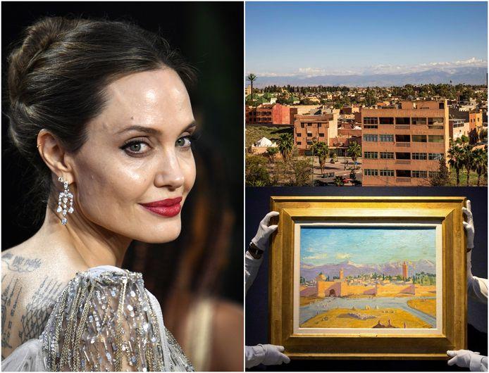 """Angelina Jolie et le tableau """"Tour de la mosquée de la Koutoubia""""."""