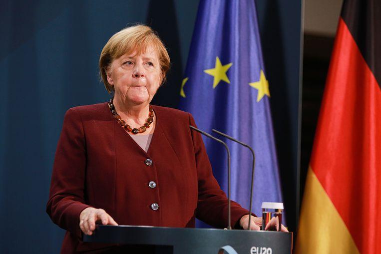 De Duitse bondskanselier Angela Merkel spreekt na afloop van de G20-top. Beeld EPA
