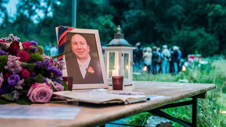 Een foto van Benoit Chardome bij een herdenking in Berchem. Beeld afp