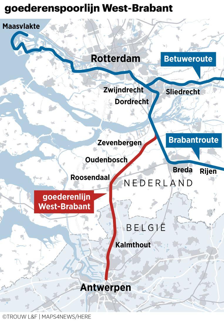 De goederenlijn door West-Brabant houdt de gemoederen bezig vanwege de verwachte forse toename van het aantal treinen met gevaarlijke stoffen. De lijn wordt zowel gebruikt voor passagierstreinen als goederen. Beeld Louman & Friso
