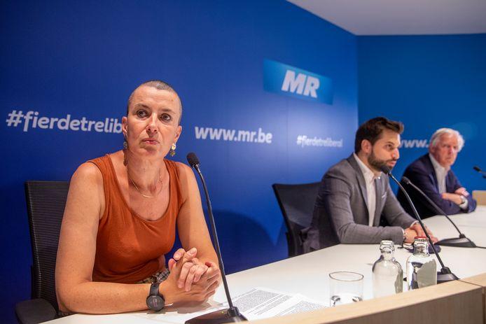 Nadia Geerts, le président du MR Georges-Louis Bouchez et Daniel Bacquelaine au siège du MR à Bruxelles, ce vendredi 17 juin.