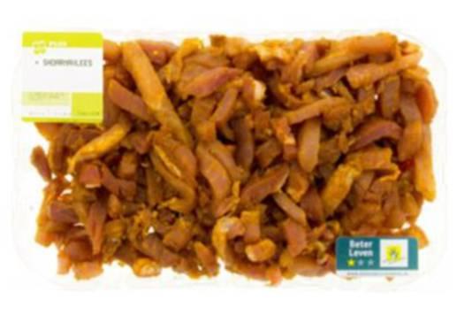 De mogelijk besmette Plus-shoarma kunnen klanten terugbrengen naar de supermarkt.