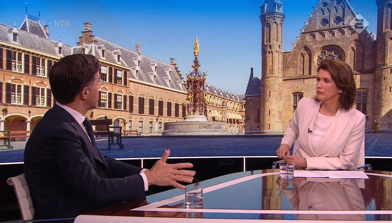 Demissionair premier Mark Rutte bij Nieuwsuur, afgelopen mei.  Beeld NPO