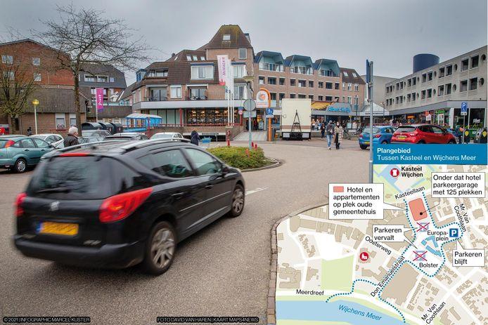 Het Europaplein in Wijchen, met op de achtergrond de Albert Heijn. Inzet: het plangebied van Tussen Kasteel en Wijchens Meer.
