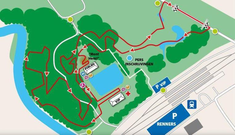 Het parcours van de Rapencross met start en aankomst aan de Groendreef.