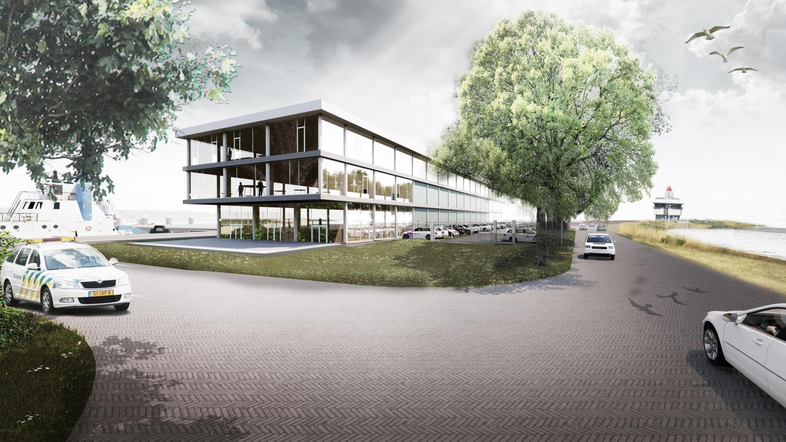 Impressie nieuw dienstengebouw aan de Westbuitenhaven aan de noordzijde van het Terneuzense sluizencomplex.