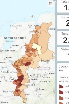 De besmettingscijfers trekken een duidelijke grens met Duitsland: hier is dat goed te zien