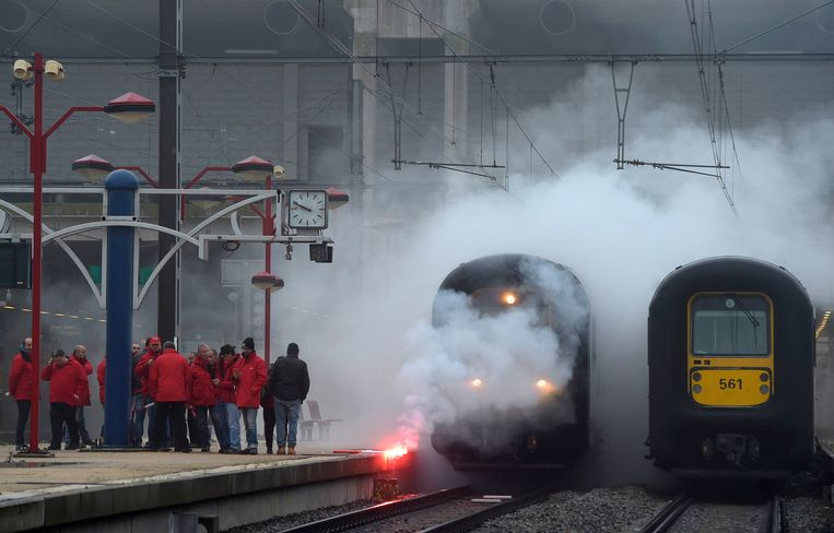 Een eerdere staking van de socialistische vakbond CGSP, hier in het station van Namen. Beeld Photo News