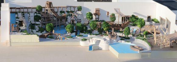 De maquette van het nieuwe Bellewaerde Aquapark.