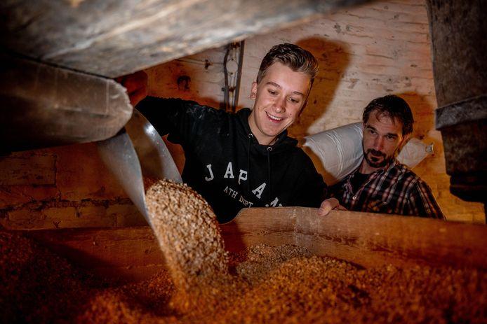 Jasper Huinink en molenaar Jeroen van de Water aan het werk in de Wijchense molen.