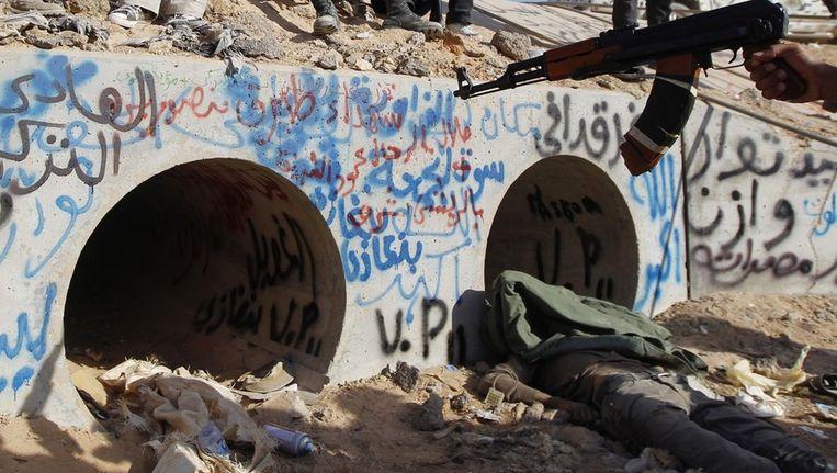 De laatste schuilplaats van Muammar Kaddafi. Beeld reuters