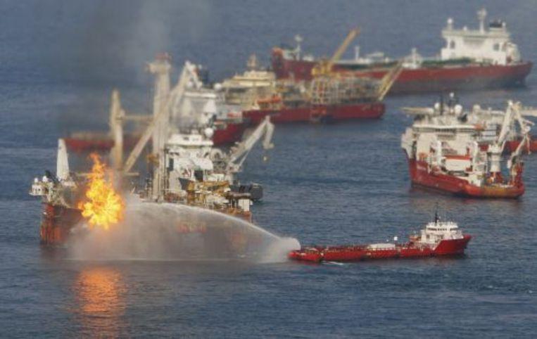 Schoonmaakwerkzaamheden in de Golf van Mexico. ANP Beeld