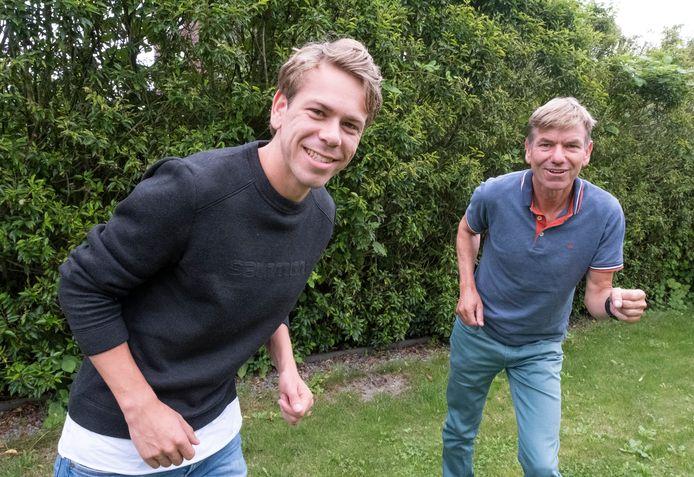 Tim van den Broeke (links) heeft de hardloopgenen van zijn vader Rian. Nadat hij in 2019 al het Zeeuws record 5 kilometer op de weg pakte, is Tim sinds deze zomer ook recordhouder op de 1500 meter.