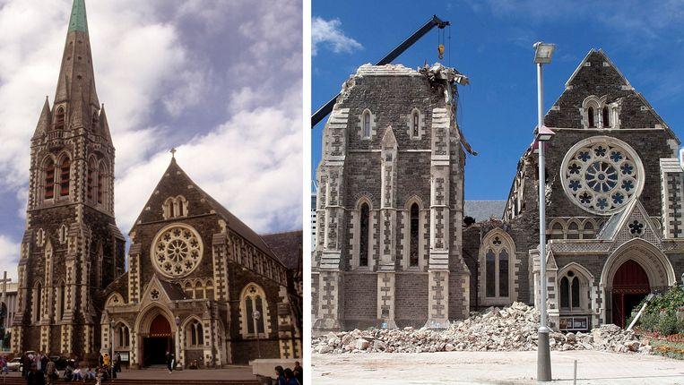 De kathedraal voor (links) en na de aardbeving (rechts). Beeld AFP