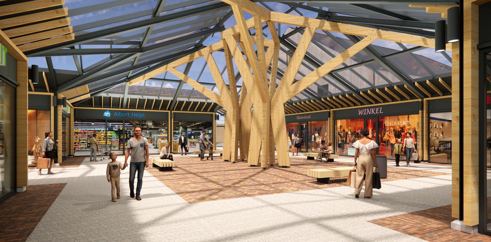 Het vernieuwde centrale plein in Tolbergcentrum.