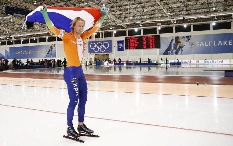 2013-01-28 SALT LAKE CITY - Michel Mulder na de 2e 1000 meter op het WK Sprint in de Olympic Oval.  ANP JERRY LAMPEN Beeld ANP