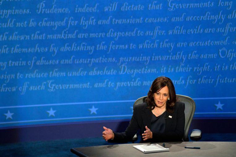 Senator Kamala Harris tijdens het debat. Beeld Photo News