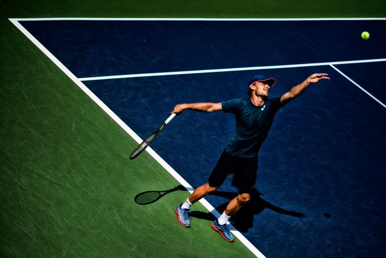 Belgian David Goffin pictured in action during a training session at the 118th US Open Grand Slam tennis tournament, at Flushing Meadow, in New York City, USA, Wednesday 29 August 2018. BELGA PHOTO YORICK JANSENS Beeld BELGA