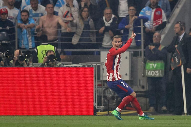 Antoine Griezmann na zijn eerste goal in de Europa League-finale. Beeld Photo News