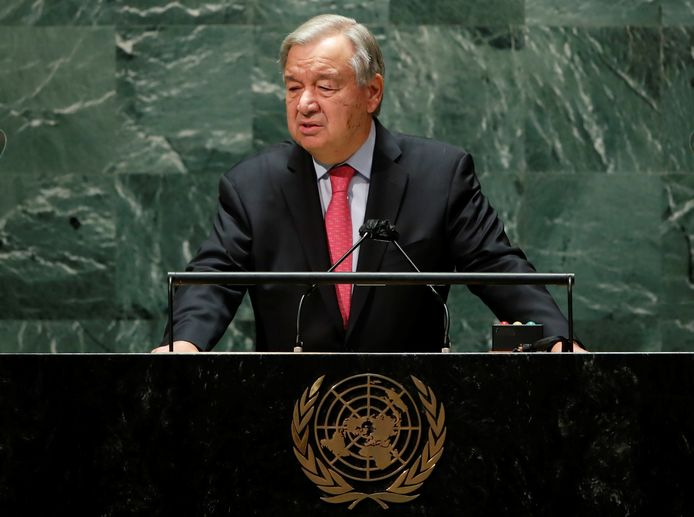 Le Secrétaire général des Nations Unies, Antonio Guterres, s'adresse à la 76e session de l'Assemblée générale des Nations Unies à New York, aux États-Unis, le 21 septembre 2021.