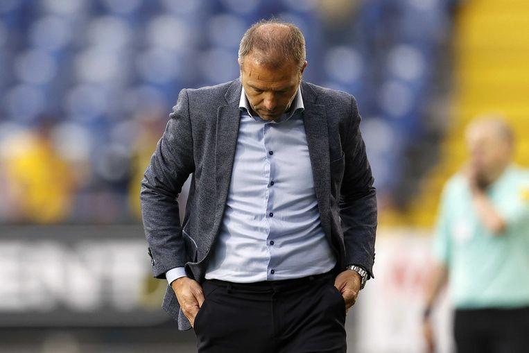 NAC-coach Maurice Steijn tijdens de promotie/degradatie-finalewedstrijd tussen NAC Breda en NEC Nijmegen, op 23 mei 2021 in Breda. Door het 1-2 verlies liep NAC promotie naar de eredivisie mis.  Beeld ANP