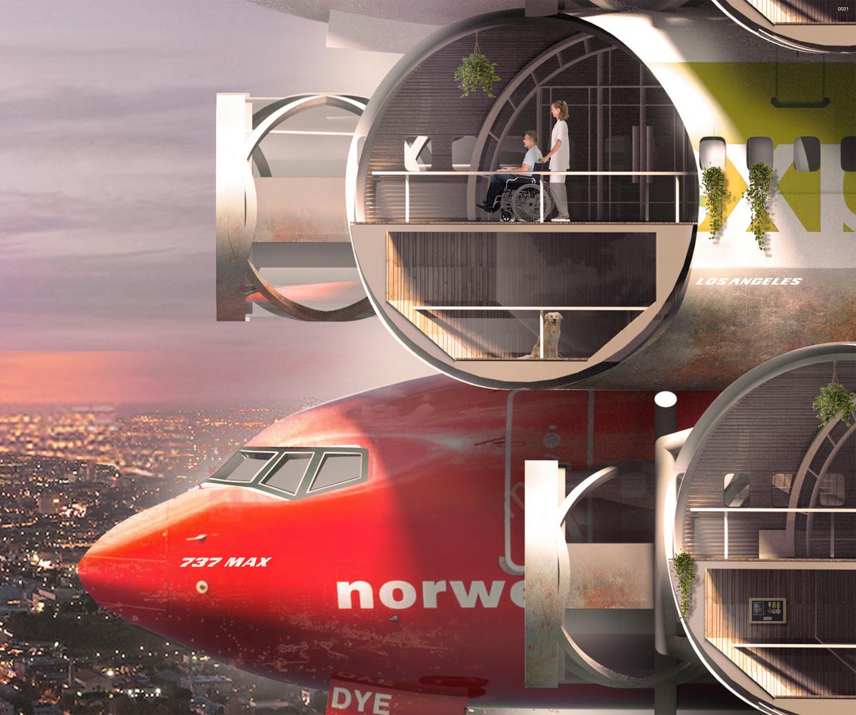 Inzending van Victor Hugo Azevedo en Cheryl Lu Xu, twee Amerikaanse architecten, voor de Evolo 2020 Skyscraper Competion. Ze ontwierpen een wolkenkrabber opgebouwd uit de rompen van de Boeing 737 Max-toestellen.  Beeld Victor Hugo Azevedo, Cheryl Lu Xu