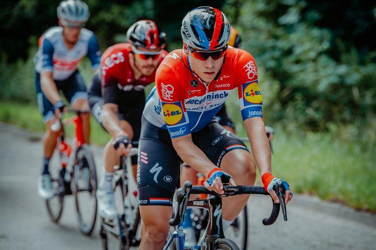 Fabio Jakobsen in de Ronde van Polen net voor zijn val.