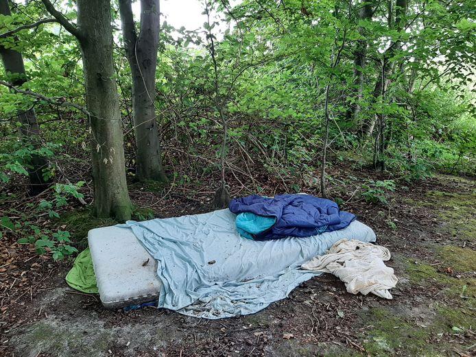 Slaapplek van een onbekende persoon in het Zuiderpark, aan de kant van De Vaan.