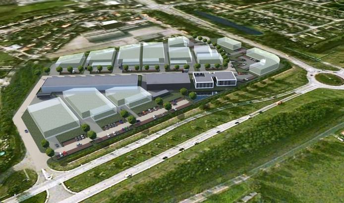 Artist impression van het nieuwe bedrijvenpark Klaverweide. Links de Vaccaweg, rechtsboven de Steenstraat. foto Bouwbedrijf Hoendervangers