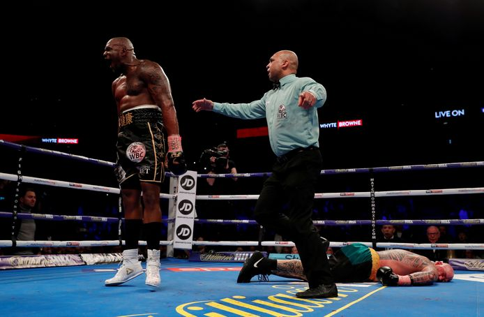 Archief foto: Dillian Whyte (links) vs Lucas Browne in de O2 Arena, London maart 2018