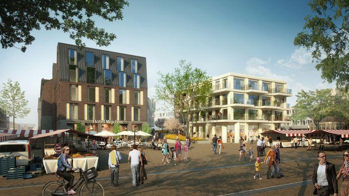 Een artist's impression van het nieuwe plein tegenover Kasteel Wijchen, waar nu het oude gemeentehuis staat. Er komt onder meer een hotel.