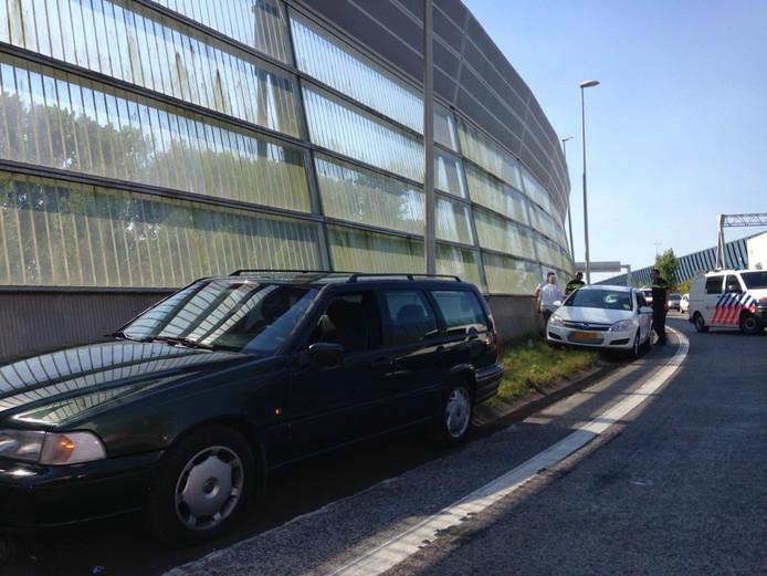 Beide auto's liepen schade op bij het ongeval op de afrit.