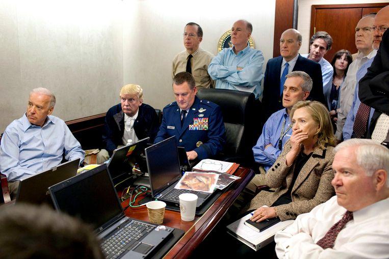 Trump in de Situation Room  (fotomontage van De Morgen). Beeld rv/Pete Souza/fotomontage