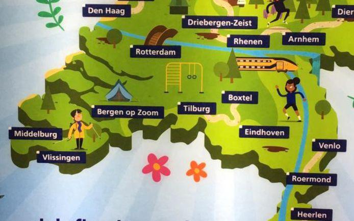 De poster van NS met Middelburg en Vlissingen in Zeeuws-Vlaanderen.