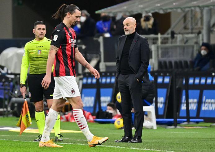 Stefano Pioli's team moet met tien man verder na de rode kaart van Zlatan.