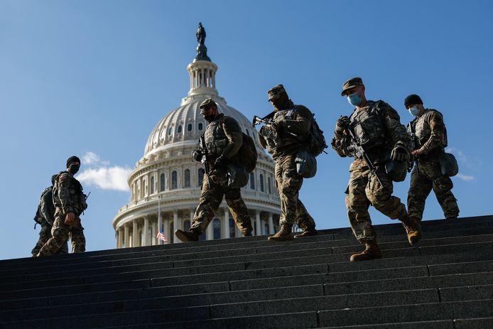 Het Capitool in Washington was een verstevigde burcht tijdens de eedaflegging van Joe Biden.