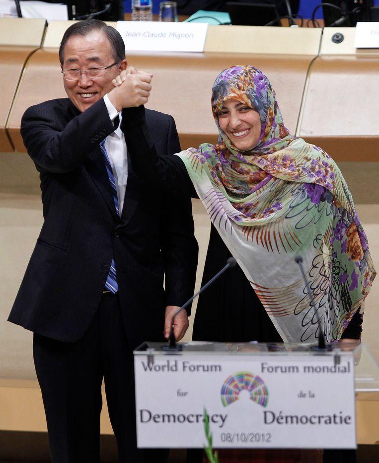 Tawakkol Karman met Ban Ki-moon. Beeld reuters
