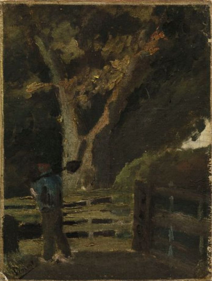 Boer met spade, toegeschreven aan Vincent van Gogh