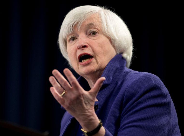 Janet Yellen, de Amerikaanse minister van financiën, wil bedrijven ontmoedigen om belasting te ontwijken. Beeld AP