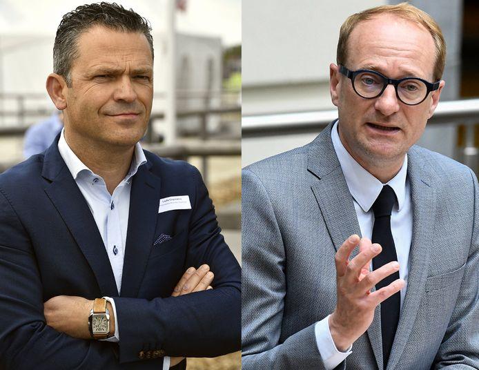 Vlaams Parlementslid Lode Ceyssens (CD&V) en Ben Weyts (N-VA), Vlaams mobiliteitsminister.