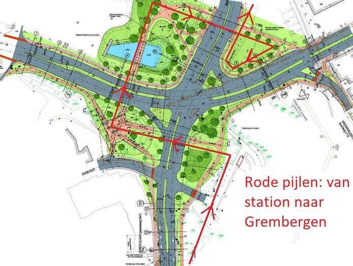 De Fietsersbond tekende met rode pijl de omweg die fietsers vanop de Leopoldlaan moeten maken door gebrek aan dubbelrichtingsfietspad op de Scheldebrug.