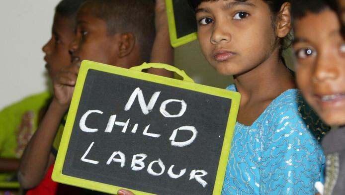Kinderen in India protesteren tegen kinderarbeid