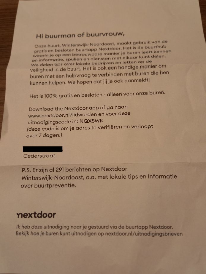 De brief van Nextdoor die in Winterswijk is verstuurd.