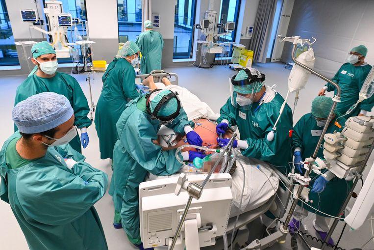 Een IC-afdeling in Luik. Beeld Photo News
