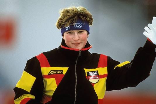 Claudia Pechstein in 1992, toen ze haar eerste olympische medaille won.