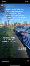De politie heeft via social media een oproep gedaan aan mensen die mogelijk niets gezien hebben wat verband kan houden met de inbraak aan de Stationslaan in Harderwijk