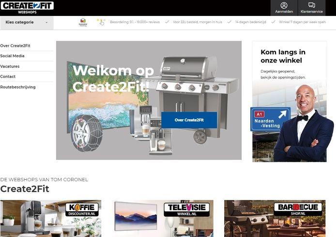 De homepage van Coronel's Create2Fit. Wie op de webshops klikt, ziet dat ze gesloten zijn.