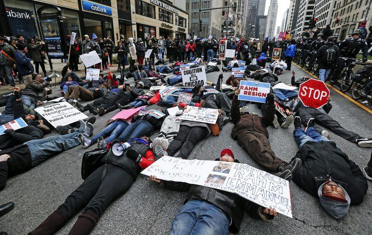 Demonstraties in Chicago. Beeld afp